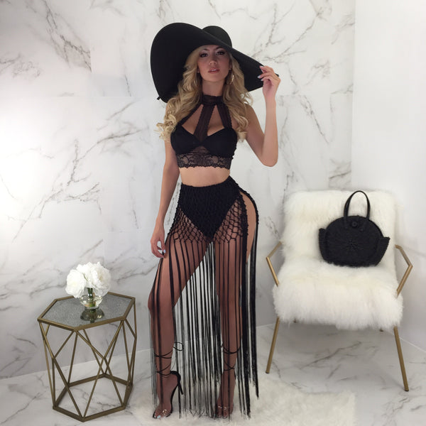 Not Welcome Lace Crop Set