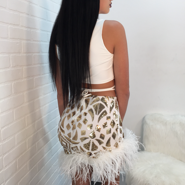 Lisa Sequin Feather Bottom Skirt Set