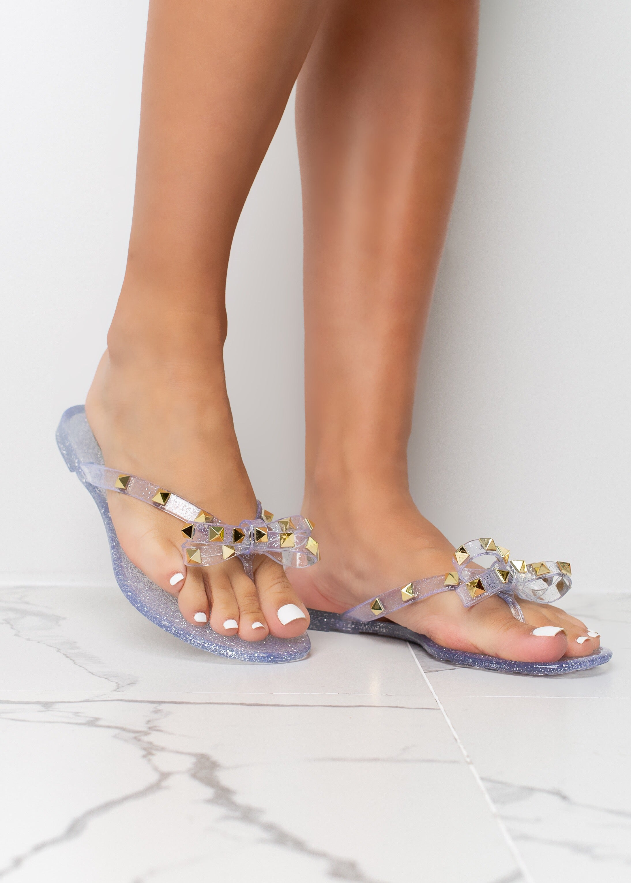 Tie The Knot Clear Jelly Stud Sandals