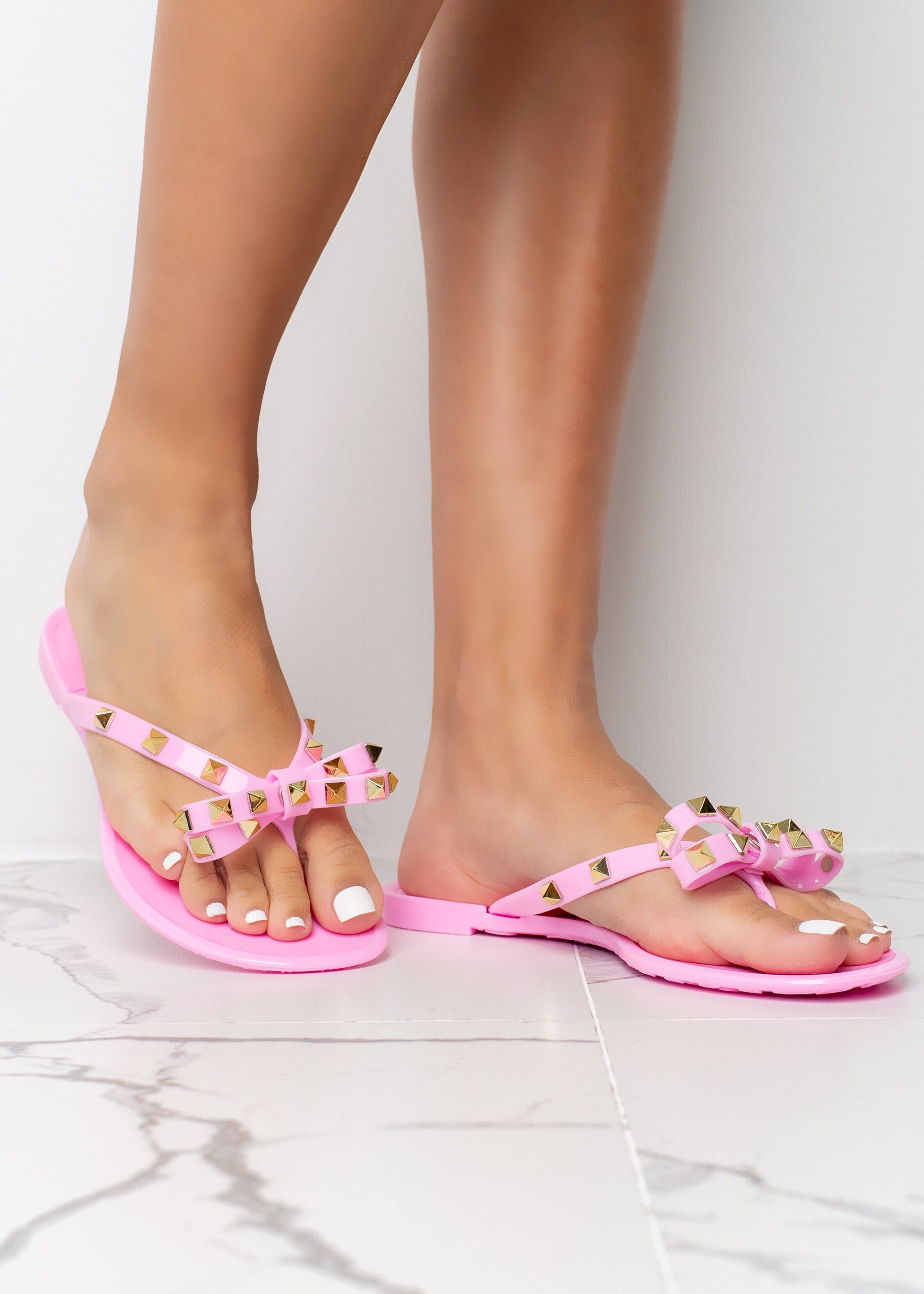 Tie The Knot Pink Jelly Stud Sandals