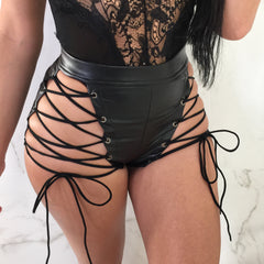 Abby Black Leather Lace Up Shorts