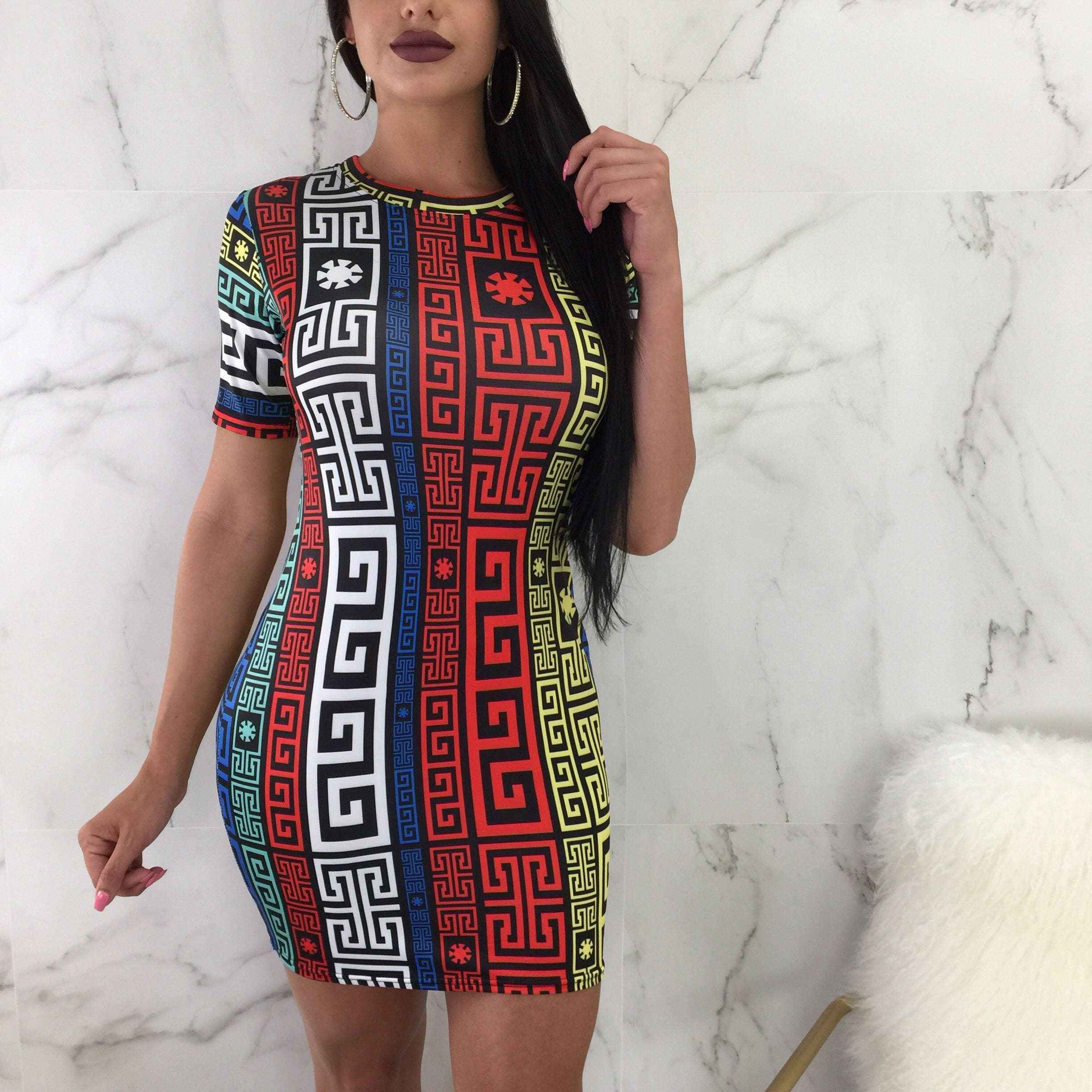 Kate Colorful Print Tee Dress