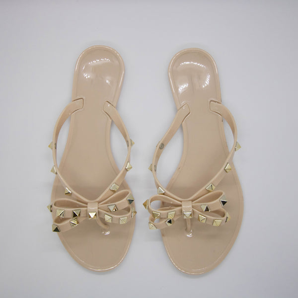 Nude Rock Stud Gummy Sandals