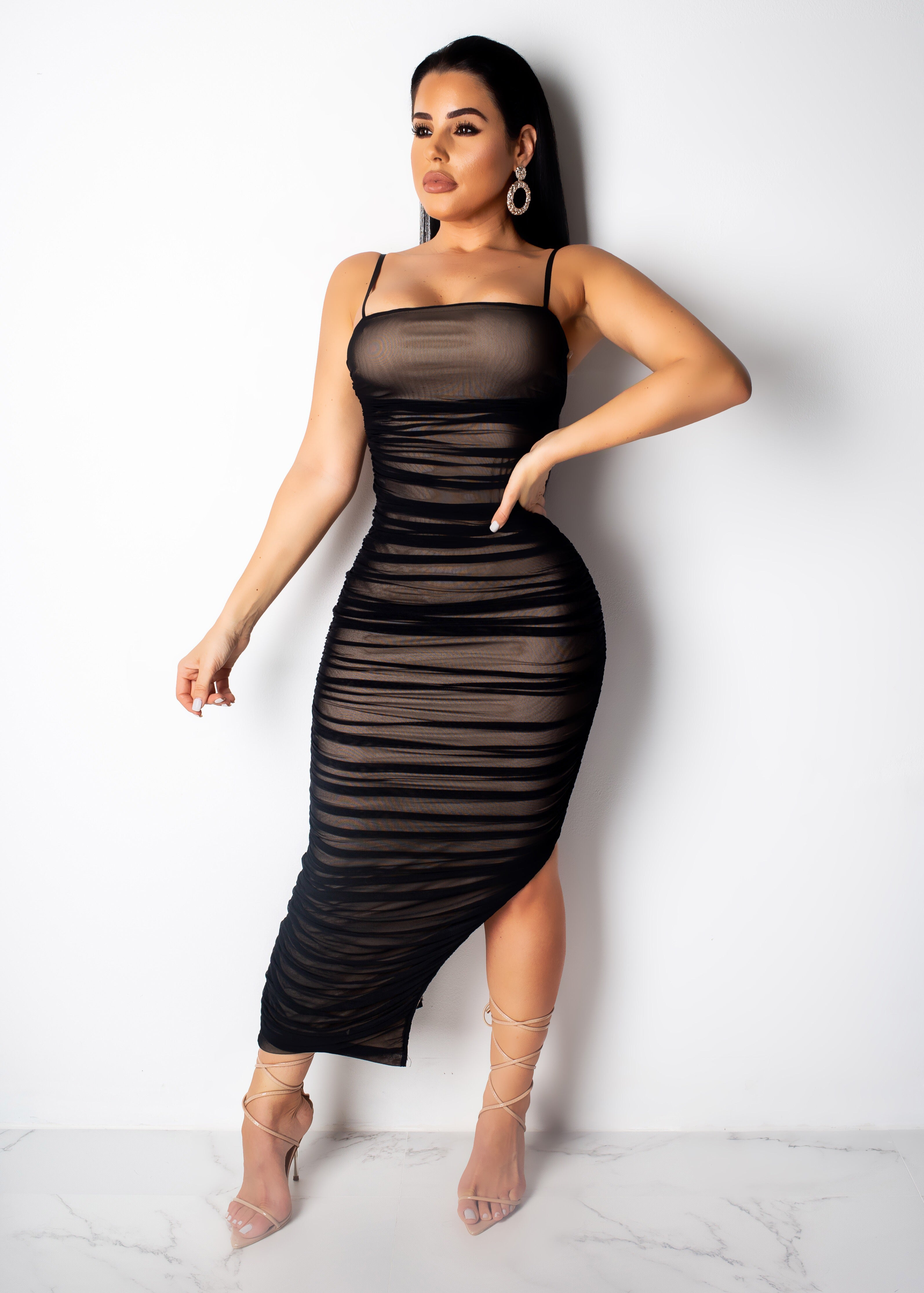 Mesh It Up Midi Dress