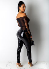 Lace Sides And Latex Leggings