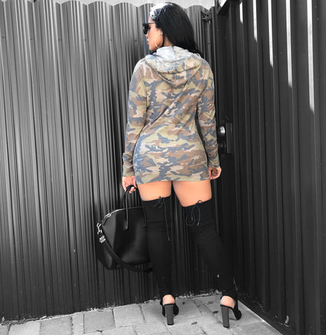 Camo Brown Queen Hoodie Mini