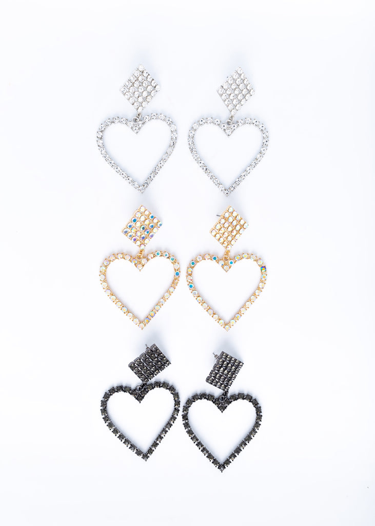 Heart Shaped Rhinestone Earrings