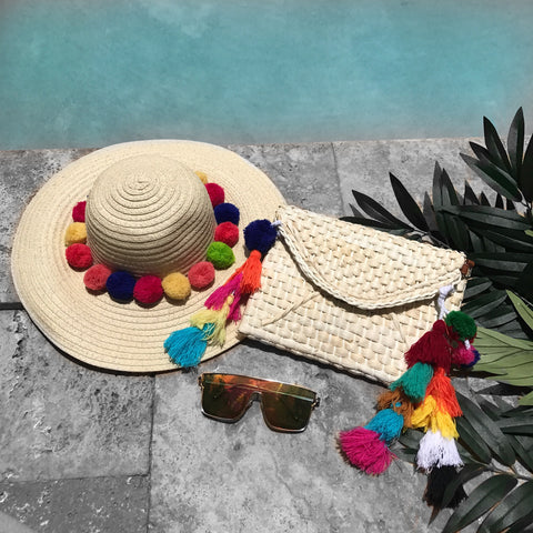 Colorful Pom-Pom Sun Hat