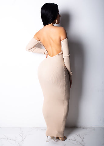 Kylie Low Back Nude Midi