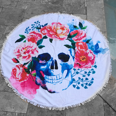 Skull Flower Beach Towel