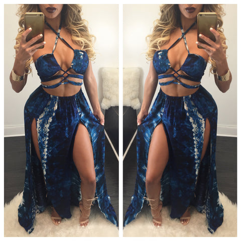 Vane High Slit Tie Dye Maxi - Diva Boutique Online - 1