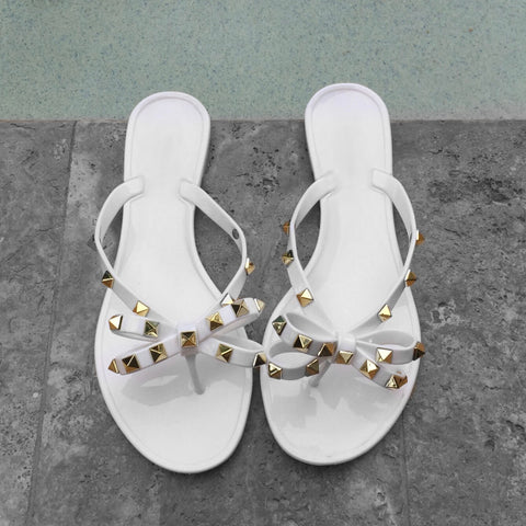 White Rock Stud Gummy Sandals