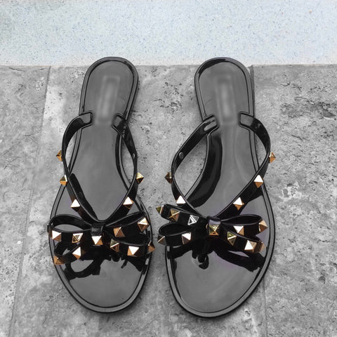 Black Rock Stud Gummy Sandals