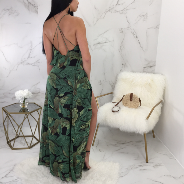 Kelly Leaves Print Wrap Maxi