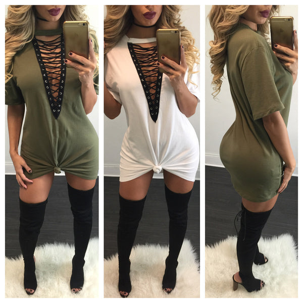 Jessie Lace Up Tee Dress - Diva Boutique Online - 2