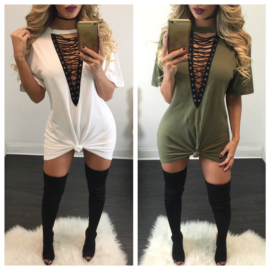 Jessie Lace Up Tee Dress - Diva Boutique Online - 1