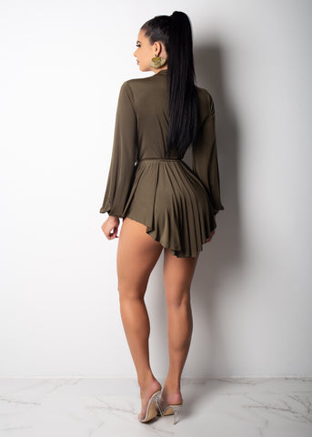 Thalia Olive Belted Mini Dress