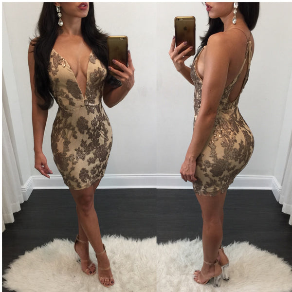 Cassidy Plunge Bronze Sequin Mini - Diva Boutique Online