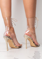 Clear Tie Up Beige Snake Print High Heels