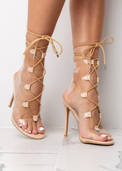 Clear Tie Up Nude High Heel