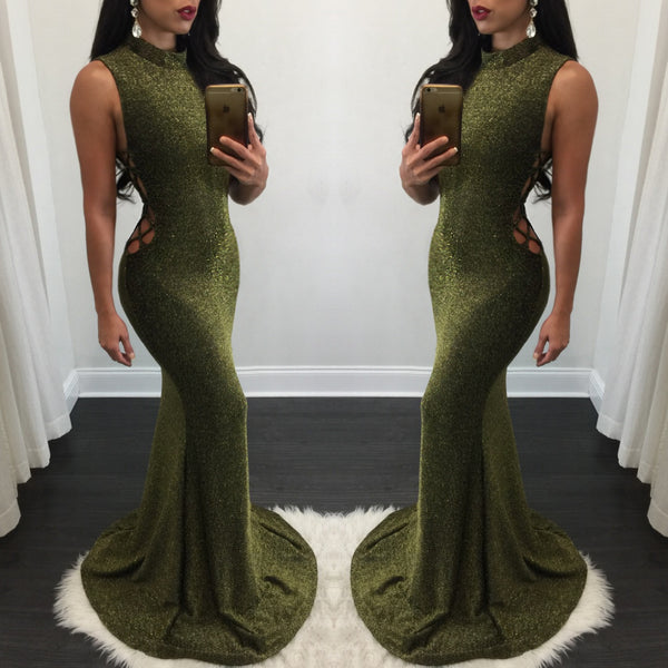 Abbey Lace Up Side Gold Gown - Diva Boutique Online - 1