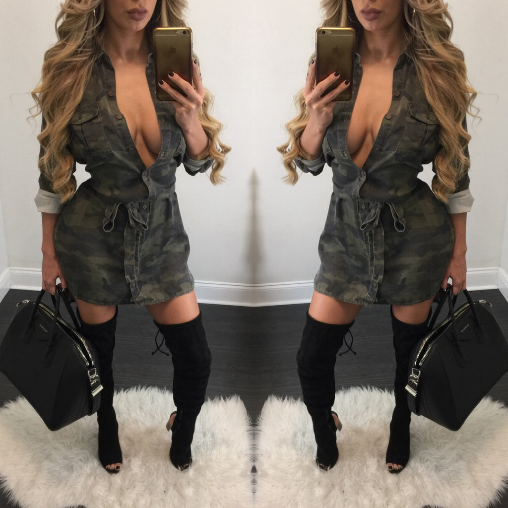 Faith Camo Blouse Dress - Diva Boutique Online - 1