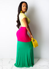 Weekend Color Blocking Maxi Dress