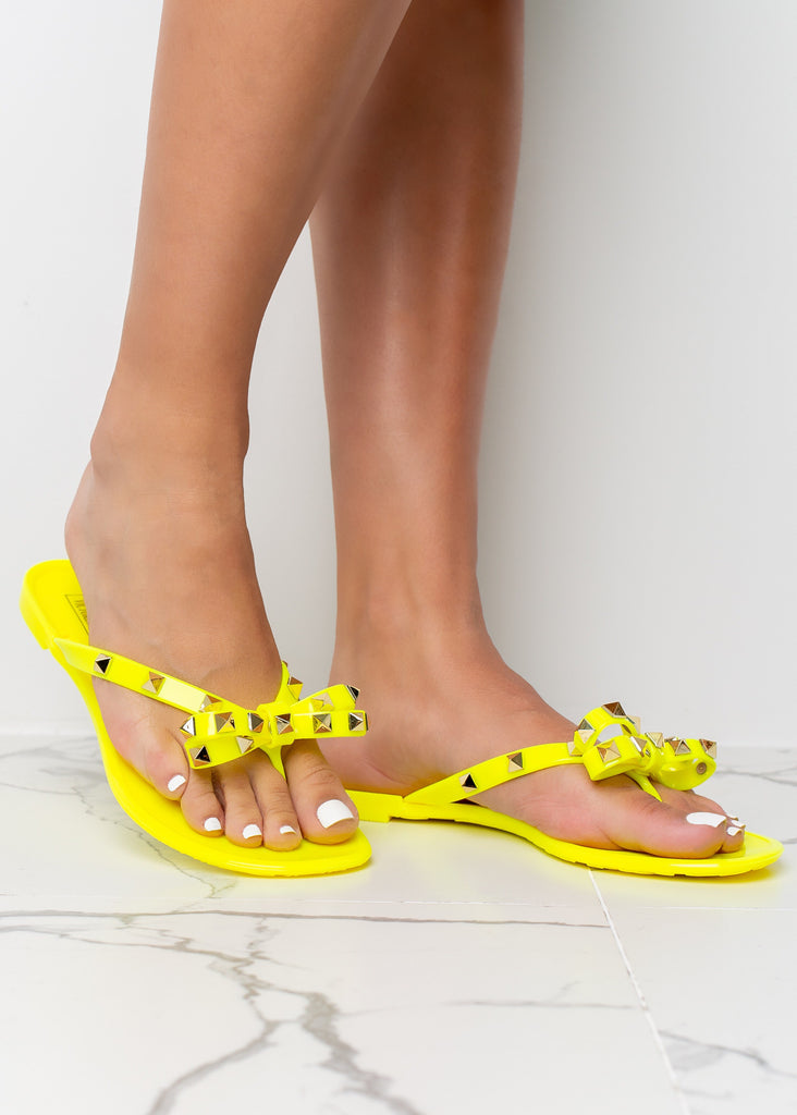 Tie The Knot Neon Yellow Jelly Stud Sandals