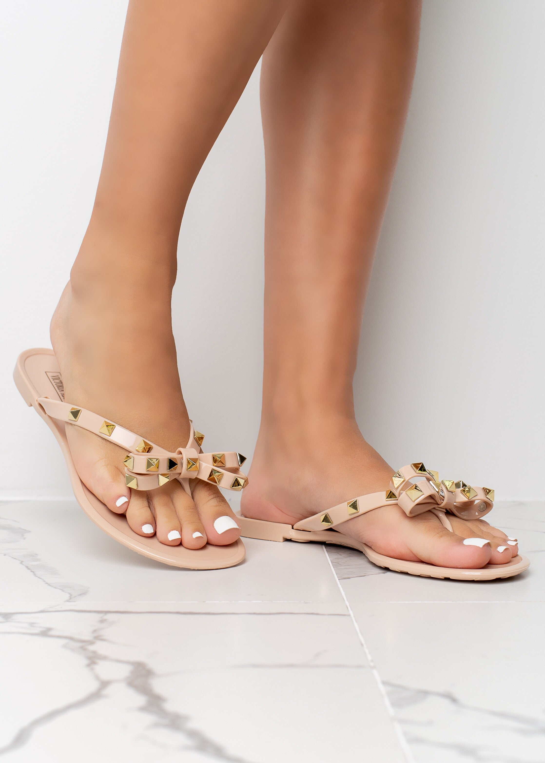 Tie The Knot Nude Jelly Stud Sandals