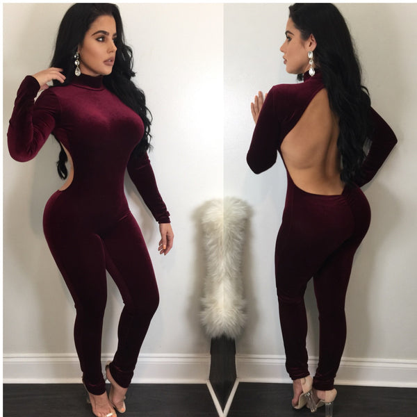 Cher Velvet Open Back Jumpsuit - Diva Boutique Online