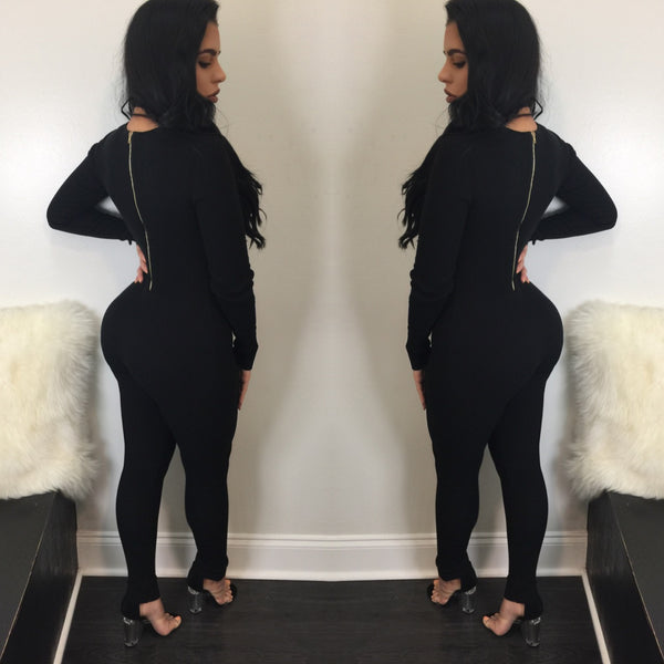 Steph V-Neck Long Sleeve Jumpsuit - Diva Boutique Online - 2