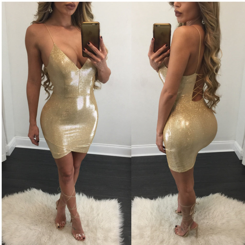 Nicole Gold Plunge Dress - Diva Boutique Online