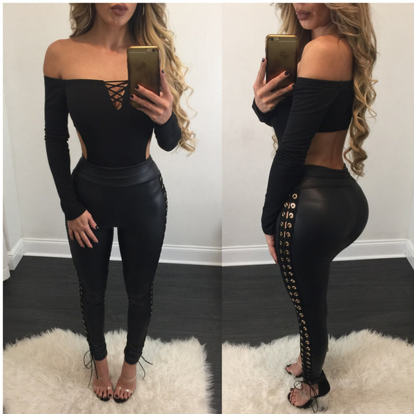 Astrid Faux Leather Side Lace Up Leggings - Diva Boutique Online