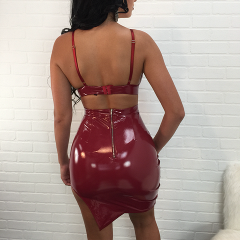 Savannah Latex Slit Skirt Set