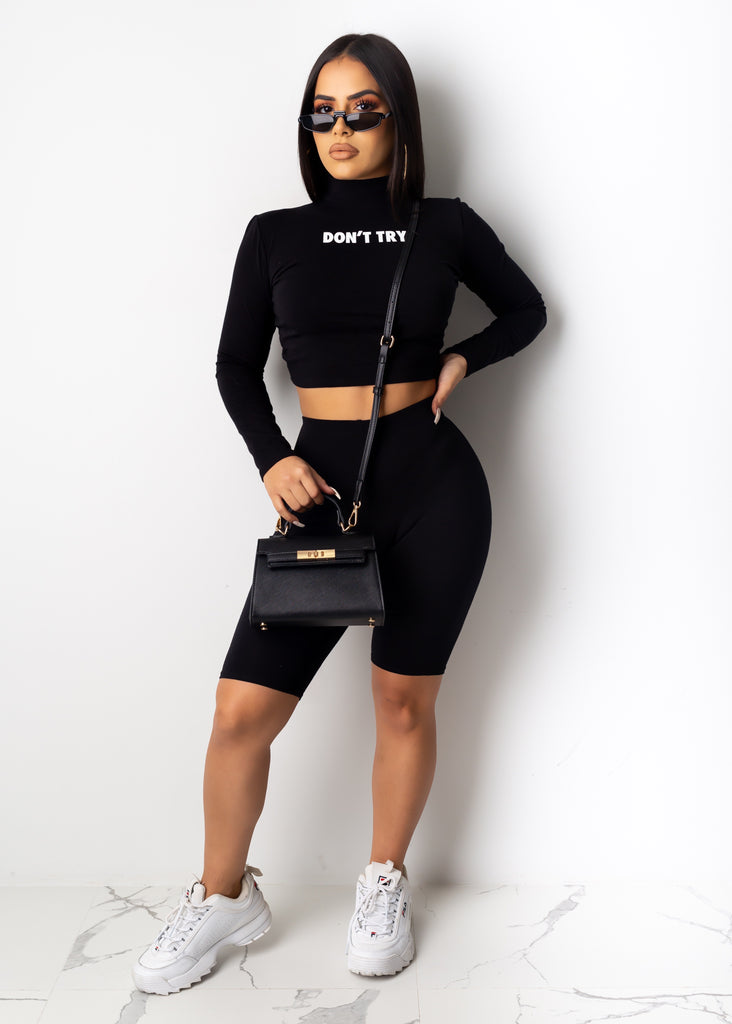 Don't Try Long Sleeve Short Set