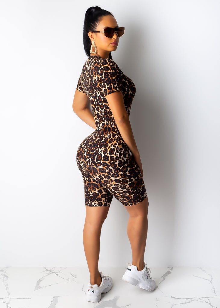 Leopard V-Neck Capri Set