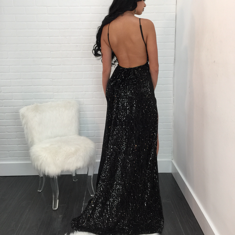 Tessa Double Slit Sequin Maxi