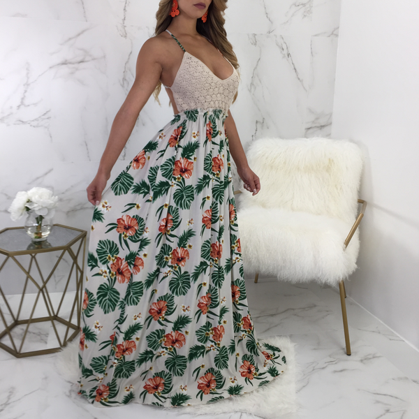 Whitney Crochet Top Floral Maxi