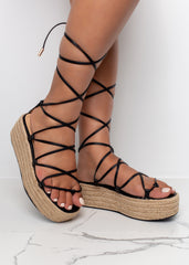 Platform Tie Up Black Sandals