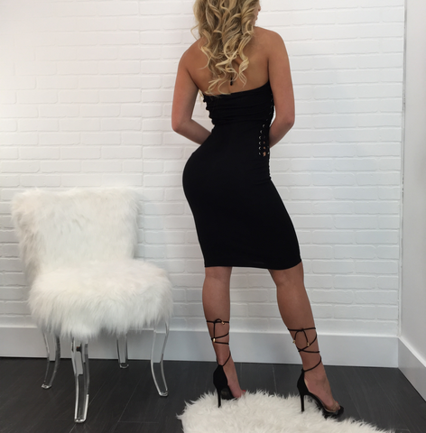 Mara Strapless Lace Up Dress