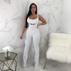 Ami Striped Knot Top Overall Set