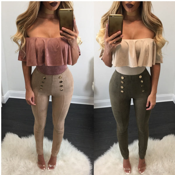 Camilla Button High Waisted Suede Leggings - Diva Boutique Online - 2