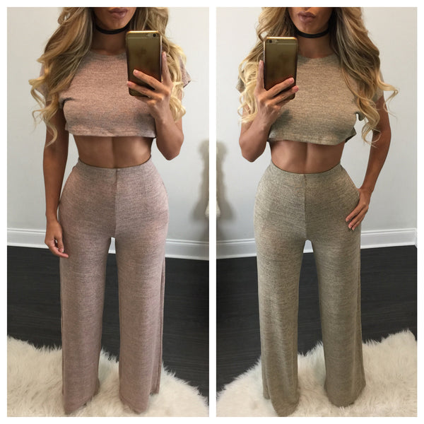 Katrina Crop Top Wide Leg Pant Set - Diva Boutique Online - 1