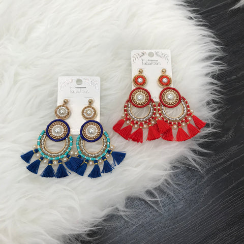 Pearl Designed Fringe Earrings