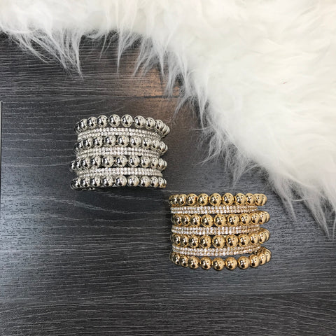 Beaded Rhinestone Cuff