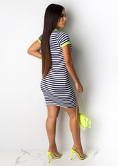 Where Are You Now Striped Mini Dress
