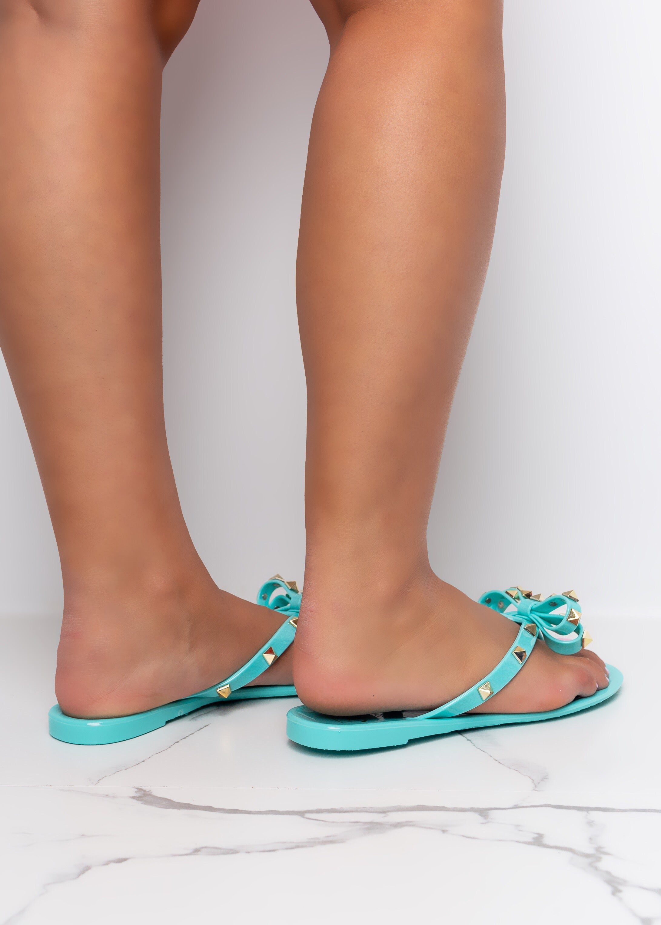 Tie The Knot Turquoise Jelly Stud Sandals