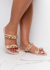 Beige Chained Double Strap Sandals