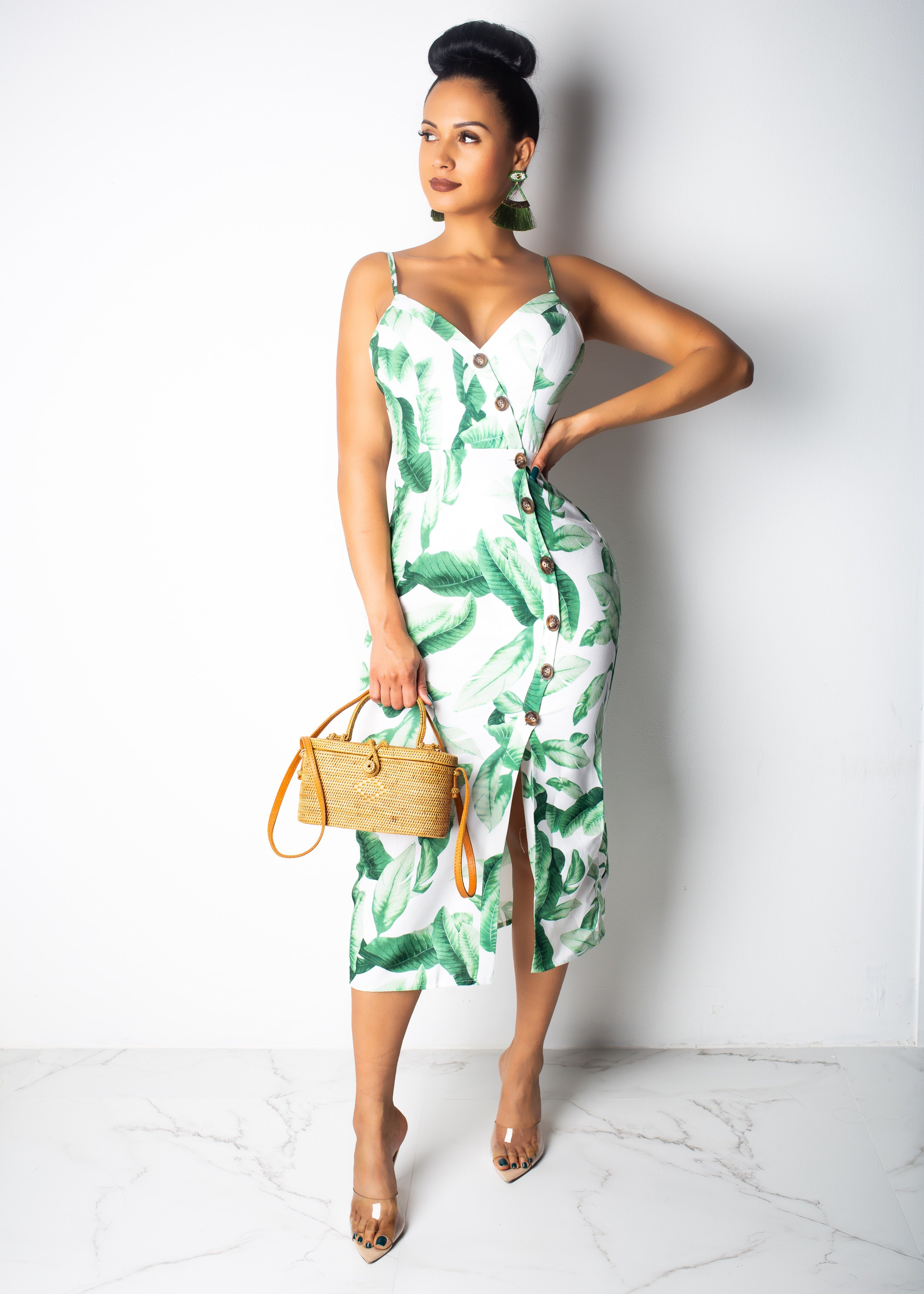 Leaves Flowing Button Up Midi Dress