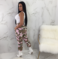 Tina Pink High Waisted Camo Pants